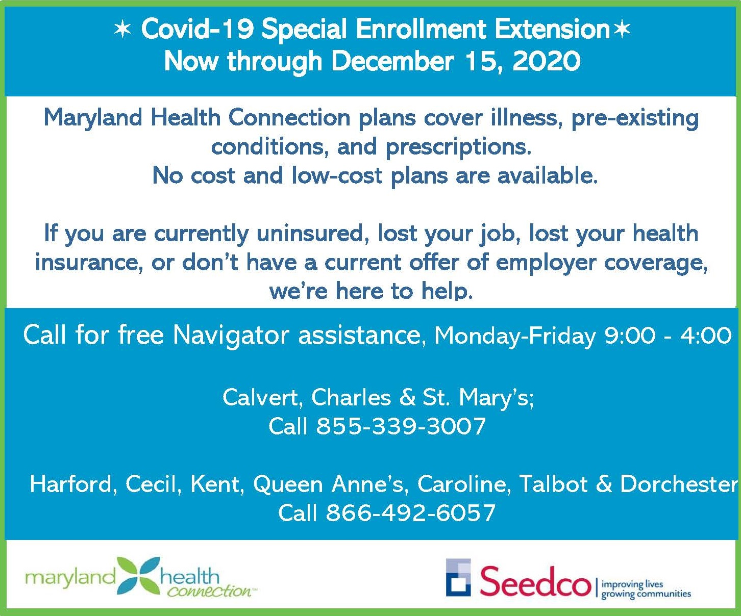 Seedco Reminds MD Residents of Extended Period for COVID 19 Health Insurance Special Enrollment