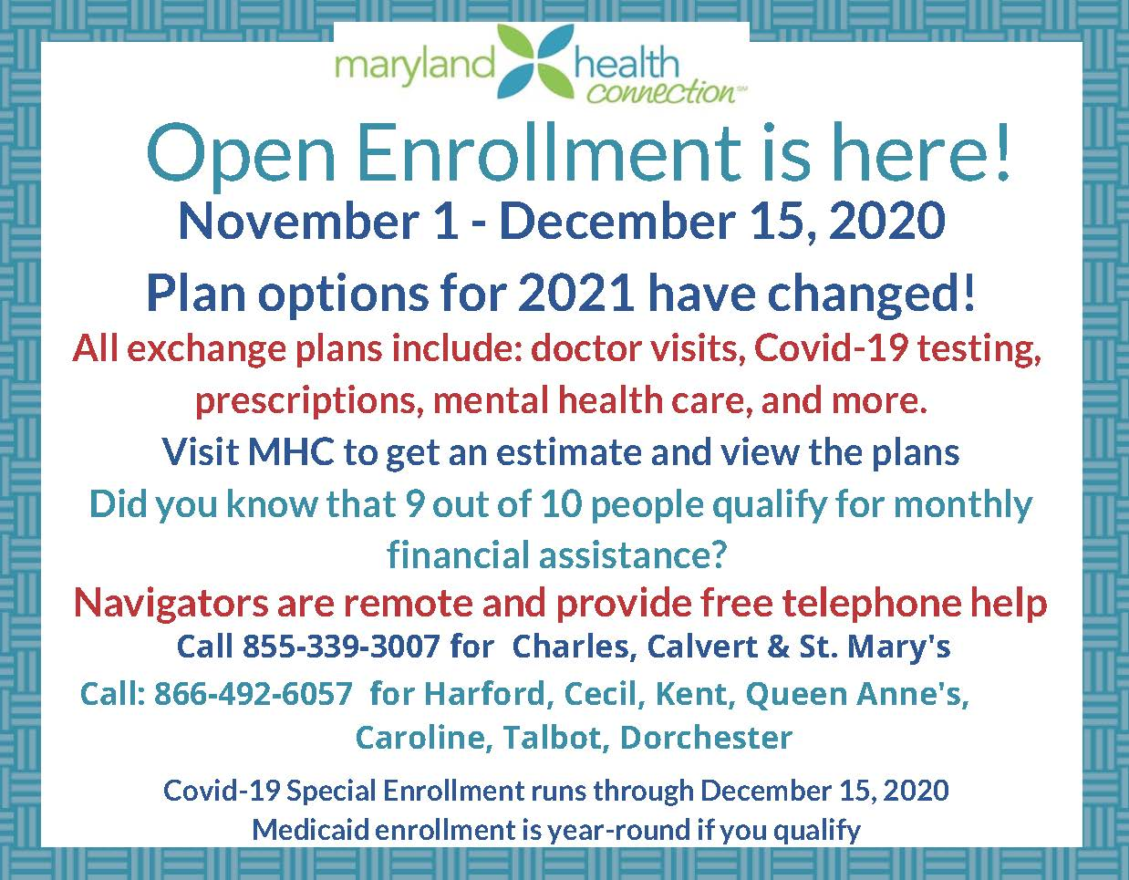 Open Enrollment, for Private Health Insurance Offered through Affordable Care Act, Opens on November 1